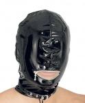 Ledapol - Lack Kopfmaske blind mit Mund-Zip und Schnalle