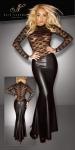 Noir Handmade - Langes Spitzen-Kleid mit Wetlook-Rock schwarz