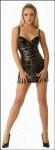 Rassiges Lack Schnür Mini-Kleid schwarz