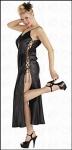 Edel Satin Negligé - Schnür Kleid schwarz