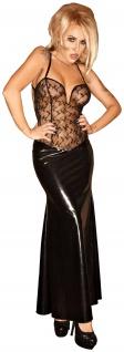 Noir Handmade - Langes Wetlook Kleid mit Tüll rückenfrei schwarz