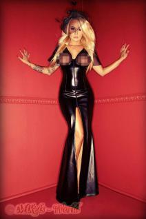 Noir Handmade - Traumhaftes Lederoptik-Kleid mit Tüll schwarz