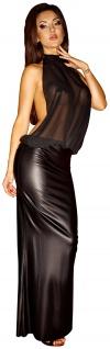 Noir Handmade - Elegantes langes rückenfreies Tüll Kleid schwarz