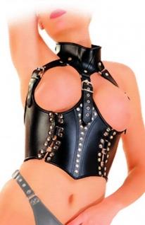 Ledapol - Echt Leder Harness Corsage mit Halsband ouvert