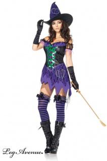 Leg Avenue - Bezauberndes Hexen Minikleid Kostüm mit Hut schwarz-lila