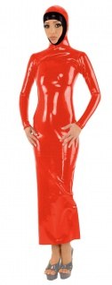 Anita Berg - Langärmeliges Latex Zip-Kleid mit Kopfmaske