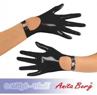 Anita Berg - Kurze Latex Handschuhe mit Riemchen