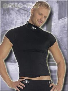 Fetisch Shirt / Top mit Leder-Halsband schwarz