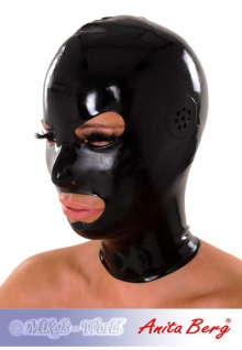 Anita Berg - Enge Latex Kopfmaske mit Ohr-Perforation