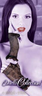 Kurze Powernetz Armstulpen Handschuhe mit Glanz-Satinschleife schwarz