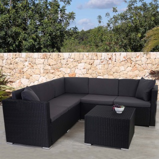 Poly-Rattan Sofa-Garnitur ROM Basic, Alu anthrazit, Kissen anthrazit