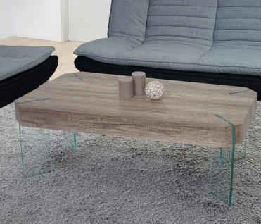 Couchtisch Kos T578, Wohnzimmertisch, FSC 40x110x60cm Wildeiche, Glas-Füße