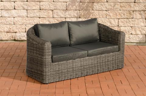 2er Sofa CP052, 2-Sitzer, Poly-Rattan grau-meliert Kissen anthrazit