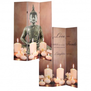 LED-Paravent Buddha, Trennwand Raumteiler, Timer netzbetrieben 180x120cm 9 LEDs