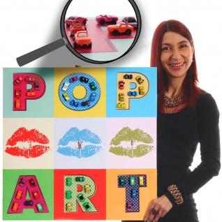 Leinwandbild Pop Art + Autos, Wandbild XL, 60x60cm