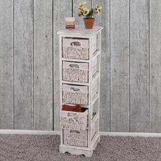 Regal Kommode mit 5 Korbschubladen, Shabby-Look, Vintage weiß
