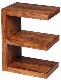Beistelltisch Malatya, Telefontisch Wohnzimmertisch, Sheesham Massivholz, E-Form, 60x45x30cm
