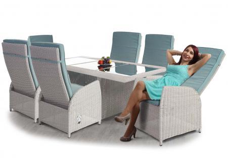 Luxus Poly-Rattan-Garnitur Badalona, Premium Alu-Sitzgruppe Tisch + 6 verstellbare Stühle hellgrau