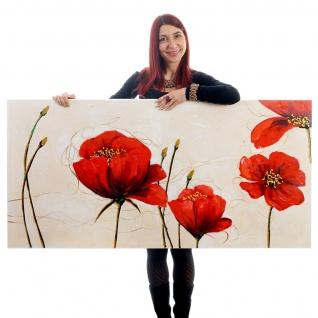 Ölgemälde Rote Mohnblumen, 100% handgemalt, 140x70cm