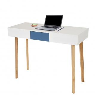 Schreibtisch Malmö T257, Computertisch, Retro-Design 82x120x55cm, Schublade blau