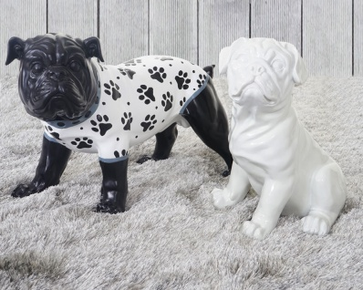 2er Set Deko Figuren Bulldogge 24cm+26cm, Skulptur Hund, In-/Outdoor Polyresin