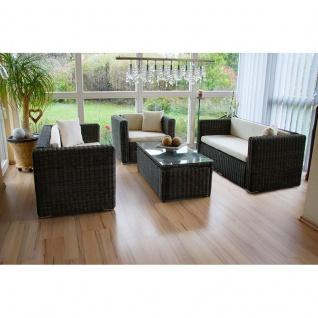 Poly-Rattan Alu-Sofa-Garnitur ROM, 2+2+Sessel naturgrau