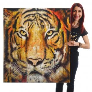 Ölgemälde Tiger, 100% handgemaltes Wandbild XL, 100x90cm