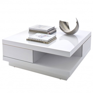 MCA Couchtisch Abby, Wohnzimmertisch Beistelltisch mit Schubladen, hochglanz weiß 30x85x85cm