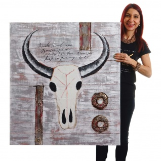 Ölgemälde Stier, 100% handgemaltes Wandbild XL, 100x90cm