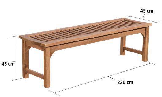 Gartenbank CP452, Holzbank 220cm Teak