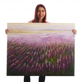 Ölgemälde Blumenfeld, 100% handgemaltes Wandbild XL, 100x80cm