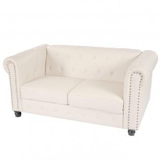 Luxus 2er Sofa Loungesofa Couch Chesterfield Kunstleder runde Füße, weiß