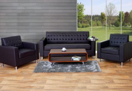3-1-1 Sofagarnitur Kunda, Couch Loungesofa Kunstleder, Metall-Füße coffee
