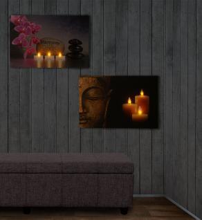 2x LED-Bild mit Beleuchtung Leinwandbild Leuchtbild Wandbild 60x40cm Buddha + flackernd