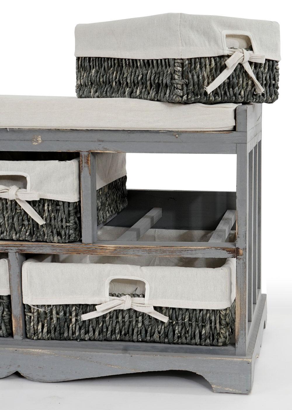 kommode und sitzbank mit 5 schubladen shabby look. Black Bedroom Furniture Sets. Home Design Ideas