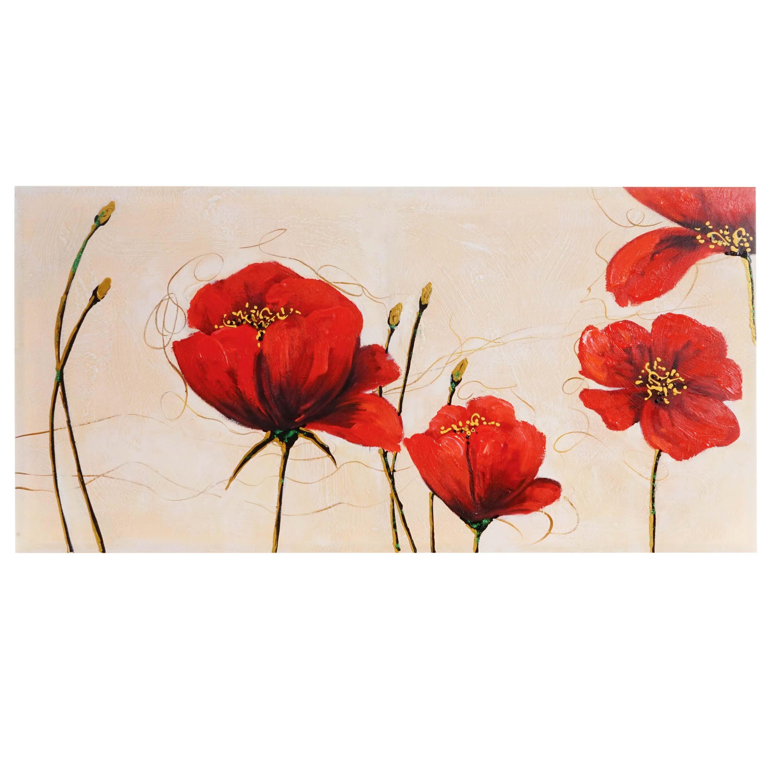 lgem lde rote mohnblumen 100 handgemalt 140x70cm kaufen bei mendler vertriebs gmbh. Black Bedroom Furniture Sets. Home Design Ideas