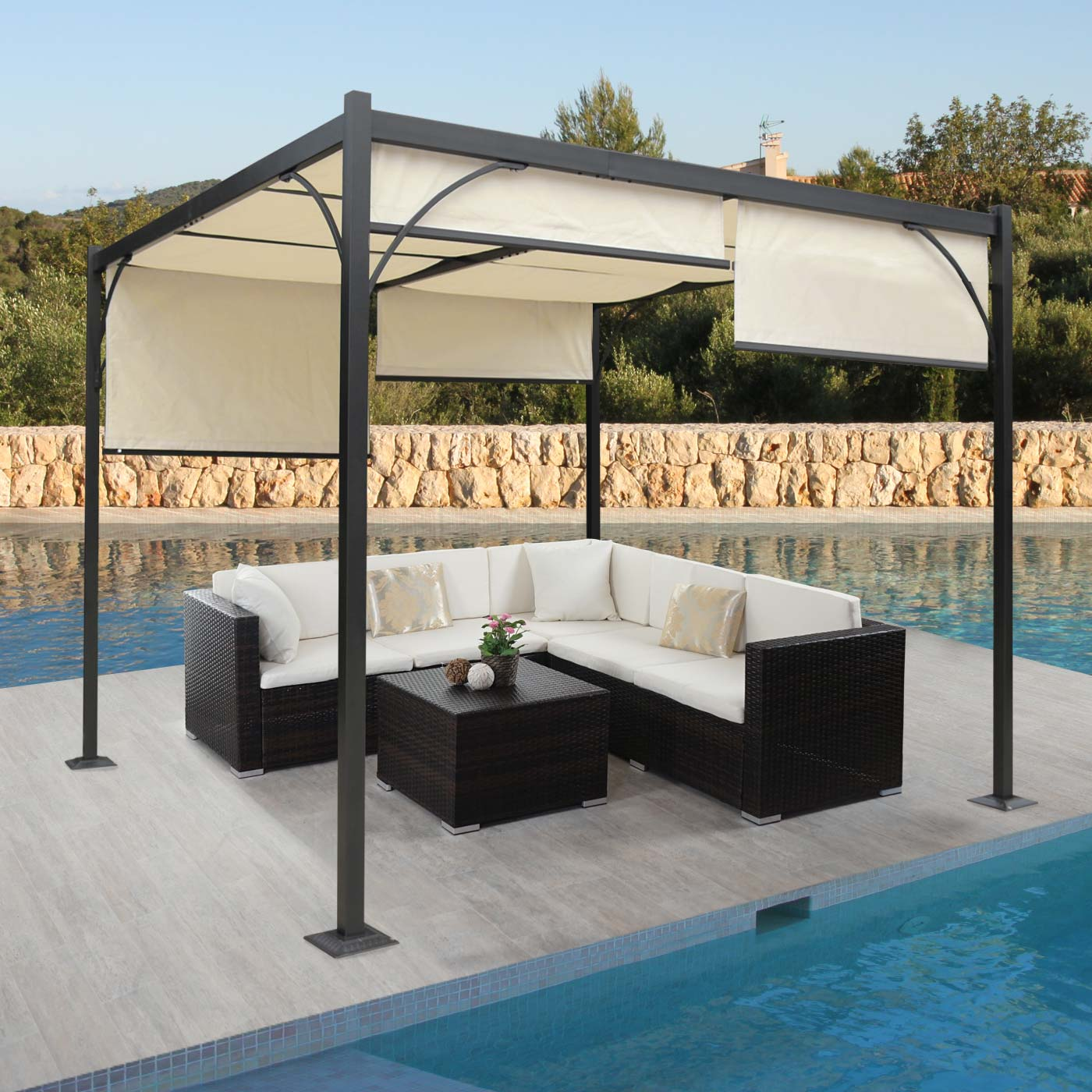 pergola granada pavillon stabiles 6cm alu gestell schiebedach 3x3m kaufen bei mendler. Black Bedroom Furniture Sets. Home Design Ideas