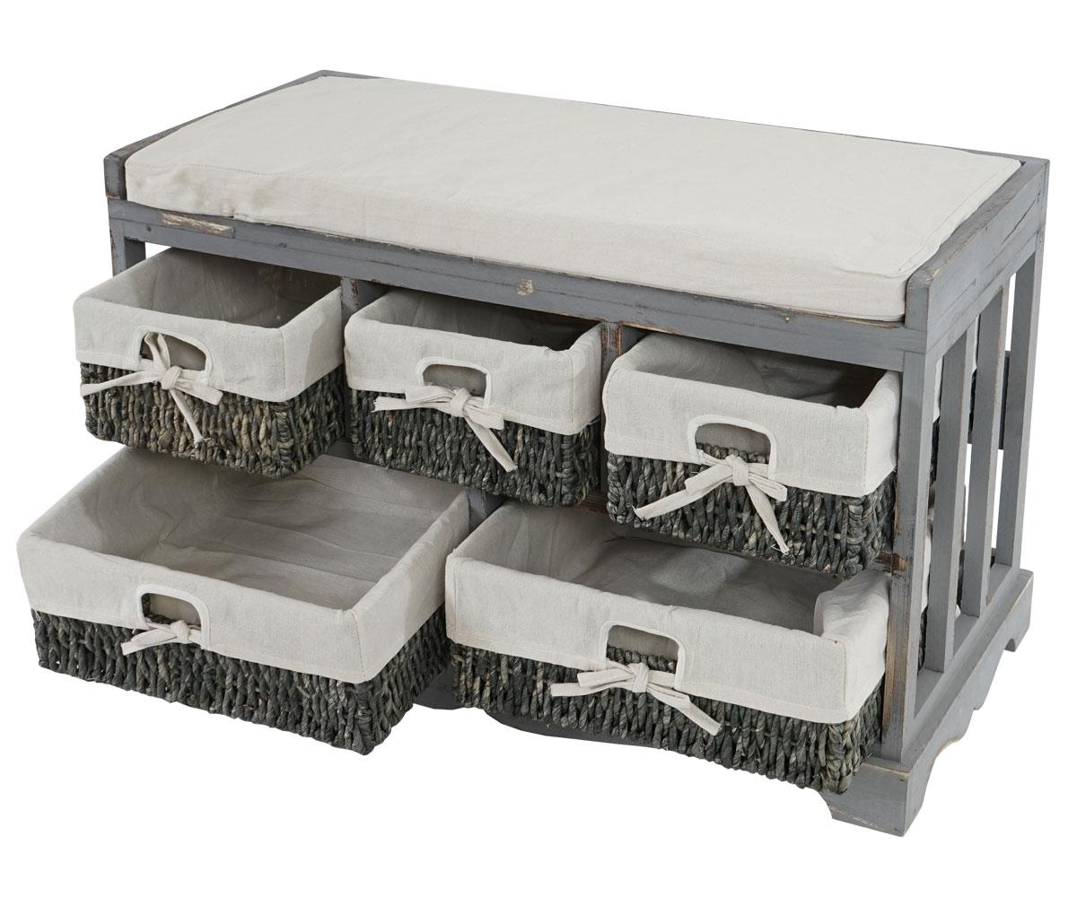 kommode und sitzbank mit 5 schubladen shabby look vintage grau kaufen bei mendler vertriebs gmbh. Black Bedroom Furniture Sets. Home Design Ideas