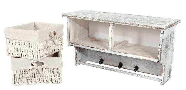 garderobe wandregal mit 2 k rben 2x beistelltisch shabby look vintage wei kaufen bei. Black Bedroom Furniture Sets. Home Design Ideas