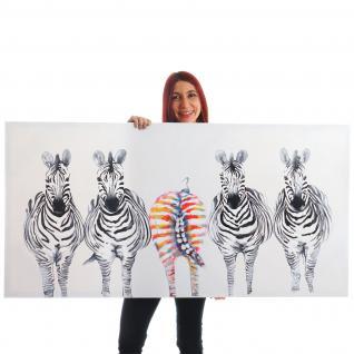 Ölgemälde Zebras, 100% handgemaltes Wandbild XL, 140x70cm