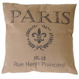 Deko-Kissen Paris, Sofakissen Zierkissen mit Füllung, braun 45x45cm