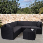 Poly-Rattan Sofa-Garnitur ROM Basic, Stahl anthrazit, Kissen anthrazit