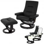 Relaxsessel Premium, Relaxliege Fernsehsessel, Premium-Polsterung Leder mit Kunstleder schwarz