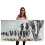 Ölgemälde Elefanten, 100% handgemaltes Wandbild XL, 140x70cm