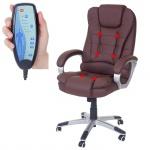 Massage-Bürostuhl Blackburn, Massagestuhl Drehstuhl Chefsessel, Kunstleder braun