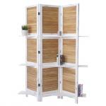 Paravent Yvelines, Trennwand Raumteiler mit Regalböden 170x125cm, Shabby Look weiß/braun