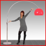 Reality|Trio Bogenlampe Stehlampe Schirm rot