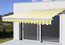 Alu-Markise T121, Gelenkarmmarkise Sonnenschutz 3, 5x3m Polyester Gelb/Weiß