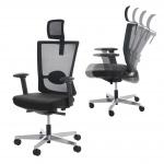 Bürostuhl MERRYFAIR Forte, Schreibtischstuhl Drehstuhl schwarz, mit Nackenstütze