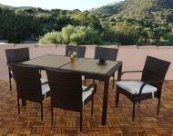 Poly-Rattan Garten-Garnitur Ariana, Tisch+6x Alu-Stuhl, WPC braun
